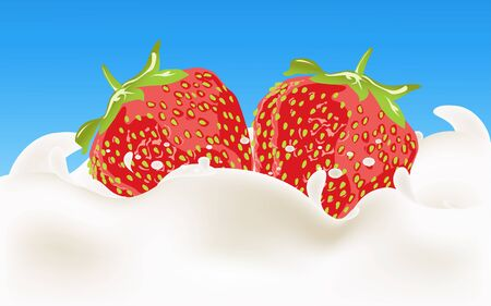 milk mixed with strawberry Illustration