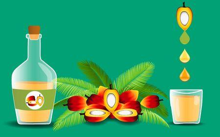 huile de palme et fruit du palmier sur fond vert Vecteurs