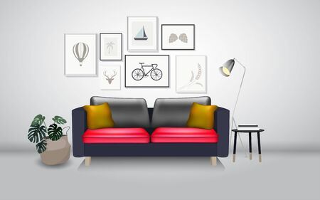 sofa and picture frame in the living room Illustration