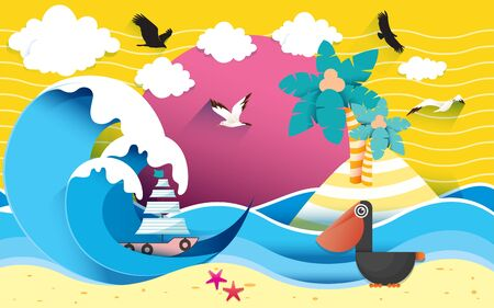 landscape of the beach paper art style Banque d'images - 129702459