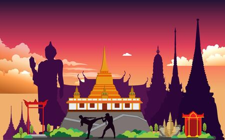 landscape of temple in thailand Иллюстрация