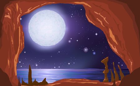 landscape of cave inthe ocean in the night  イラスト・ベクター素材