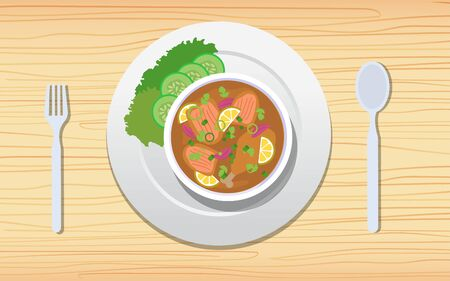 chicken soup on the wooden table Illusztráció