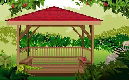 pabellón de madera en la selva Ilustración de vector
