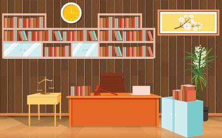 wooden desk in law office Standard-Bild - 129946532