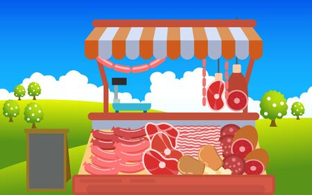 outdoor meat market on the meadow Ilustracja