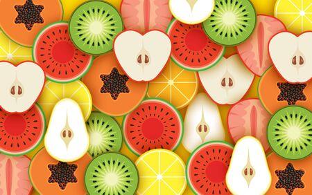 colorful mixed fruit background