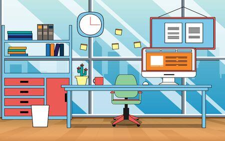 office Interior decoration on building Illustration