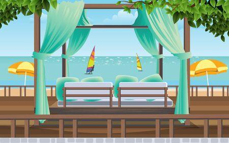 cabana in resort on the beach Ilustrace