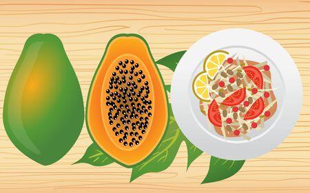 papaya salad on the the wooden table Ilustracje wektorowe