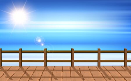 landscape of wooden bridge on the beach in the morning