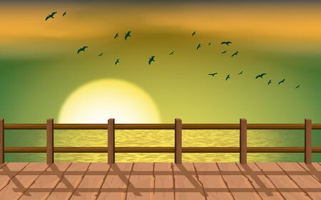 landscape of wooden bridge on the beach in sunset