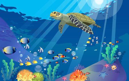 Tortuga marina y peces colrful bajo el agua.