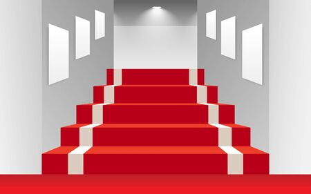 Red carpet on staircase at the cinema Ilustrace