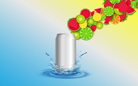 mixed fruits in the can on water Imagens - 129946542