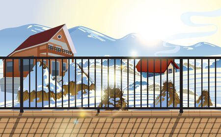 landscape of wooden house in the winter at balcony