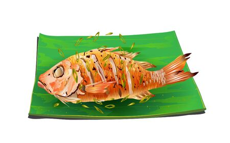 fried fish with vegetable on the plate on the wooden table 일러스트