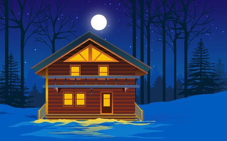wooden house in the forest in winter