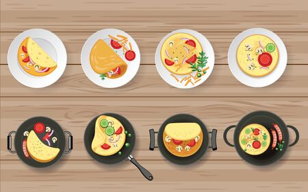 Omelete and ingredients on the wooden table Stock Illustratie