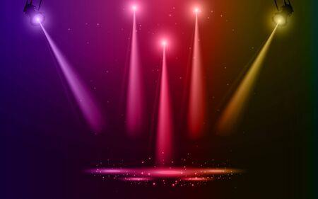 colorful light of spotlight on the stage Çizim