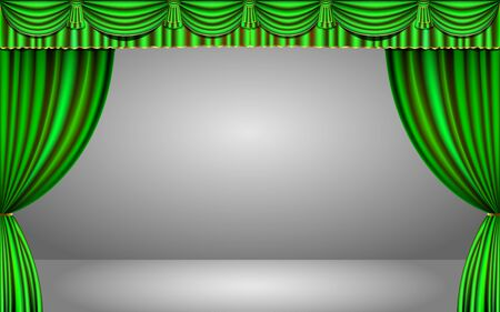 green curtain in the studio room