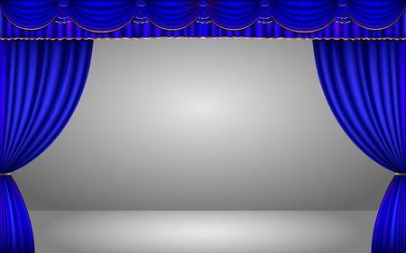 rideau bleu dans le studio