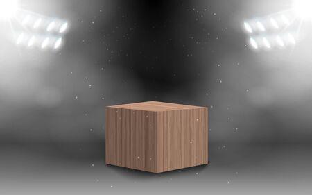 Coffret carré en bois avec spot blanc dans la salle studio Vecteurs