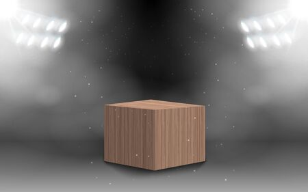 Square wooden box with white spotlight in the studio room Иллюстрация
