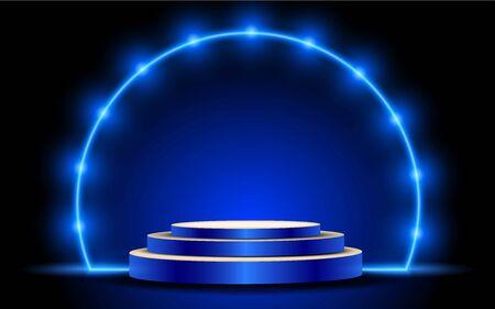 blauer Ständer mit Scheinwerfer im Studioraum Vektorgrafik