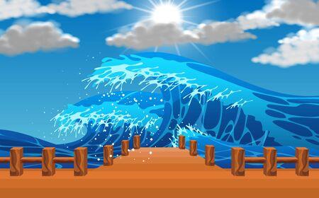seascape of high wave at the bridge Фото со стока - 129946706