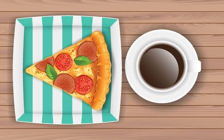 Pizza und Kaffee auf dem Holztisch Vektorgrafik