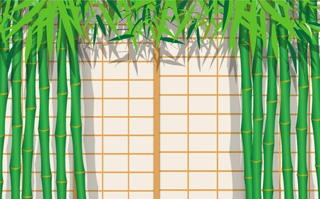 bamboo tree with japan wall background