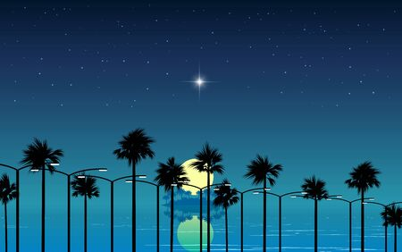 landscape of the beach in full moon night