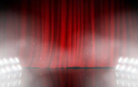 spotlight and smoke white red curtain on the stage Иллюстрация