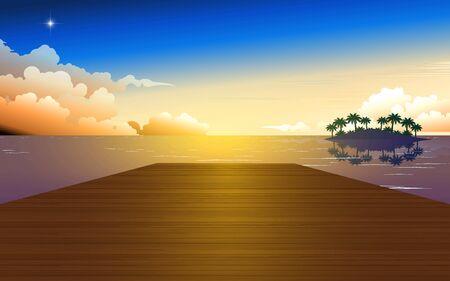 landscape of wooden bridge on the beach in sunset 向量圖像