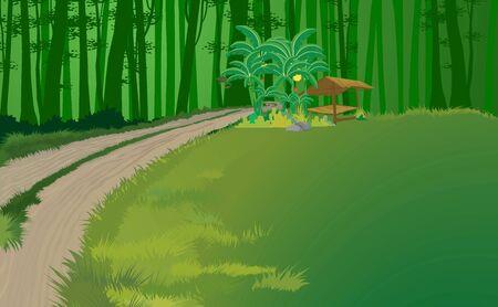 landscape of wooden cottage in the jungle Illustration
