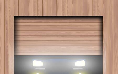 light of a car in wooden garage