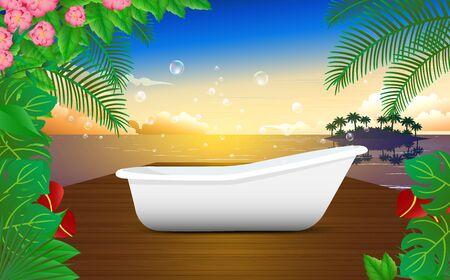 bathtub on the wooden floor in resort on the beach 向量圖像