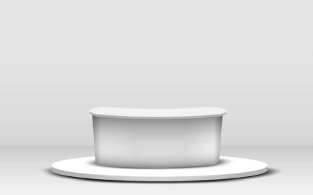 white table on white stand in the white room