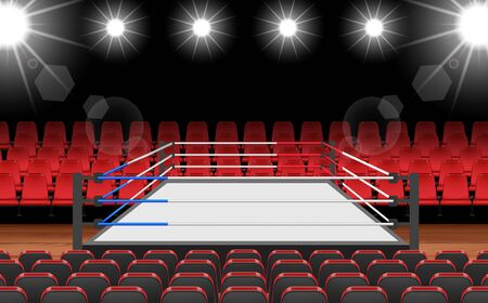 Boxing ring and red seat in the hall Иллюстрация