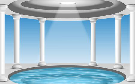 landscape of pool in the white dome Illustration