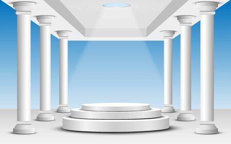 white podium in the white dome