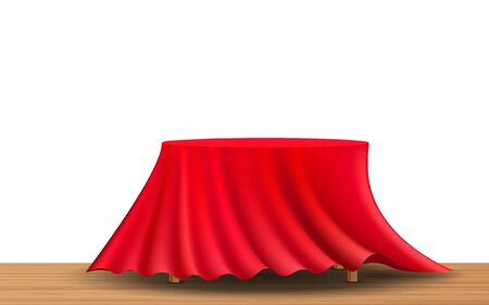 The red curtain on the wooden table on the white background