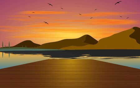 landscape of wooden bridge on the beach in sunset  イラスト・ベクター素材