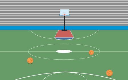 terrain de basket couvert dans le hall Vecteurs