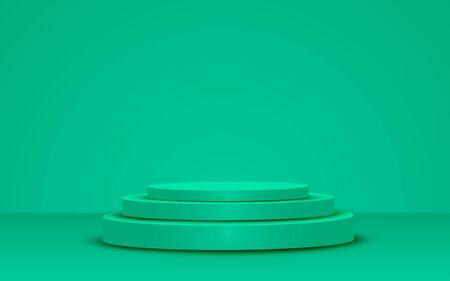 podium vert dans le studio vert