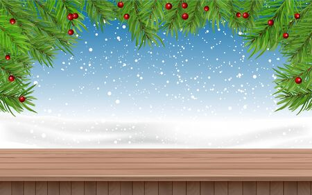 wooden table with snowing background