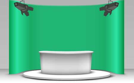 white table with green background in news studio