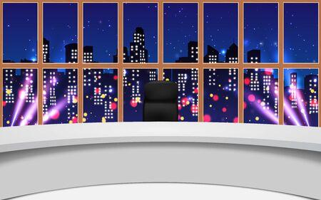 Nachrichtenstudio mit Stadt im Nachthintergrund