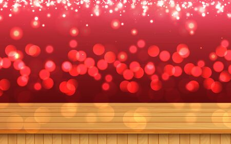wooden table with red light background